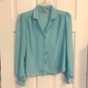 VINTAGE 1980s blue button-down blouse